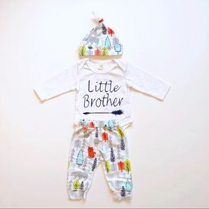 """Other - NWT Baby Boy """"Little Brother"""" Outfit 0-3 Months"""